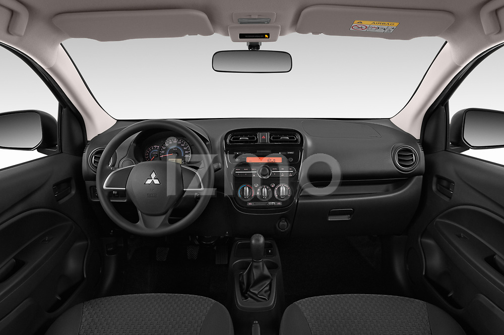 Stock photo of straight dashboard view of a 2019 Mitsubishi Space Star Black Collection 5 Door Hatchback