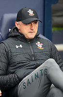 2nd November 2019; Etihad Stadium, Manchester, Lancashire, England; English Premier League Football, Manchester City versus Southampton; Southampton manager Ralph Hasenhuttl looks on from his seat in the dugout  - Strictly Editorial Use Only. No use with unauthorized audio, video, data, fixture lists, club/league logos or 'live' services. Online in-match use limited to 120 images, no video emulation. No use in betting, games or single club/league/player publications