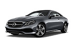 Stock pictures of low aggressive front three quarter view of a 2018 Mercedes Benz E Class Executive 2 Door Coupe