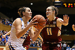 17 January 2016: Duke's Rebecca Greenwell (23) and Boston College's Nicole Boudreau (11). The Duke University Blue Devils hosted the Boston College Eagles at Cameron Indoor Stadium in Durham, North Carolina in a 2015-16 NCAA Division I Women's Basketball game. Duke won the game 71-51.