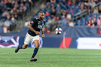 FOXBOROUGH, MA - AUGUST 25: Andrew Farrell #2 of New England Revolution controls the ball during a game between Chicago Fire and New England Revolution at Gillette Stadium on August 24, 2019 in Foxborough, Massachusetts.