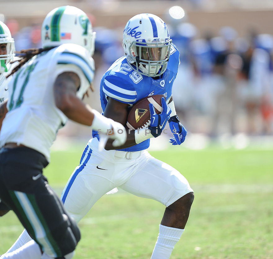 Duke Blue Devils Shaun Wilson (29) during a game against the Tulane Green Wave on September 20, 2014 at Wallace Wade Stadium in Durham, NC. Duke beat Tulane 47-13.