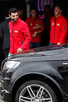 Real Madrid players Raul Albiol (l) and Sergio Ramos participate and receive new Audi during the presentation of Real Madrid's new cars made by Audi at the Jarama racetrack on November 8, 2012 in Madrid, Spain.(ALTERPHOTOS/Harry S. Stamper) .<br />