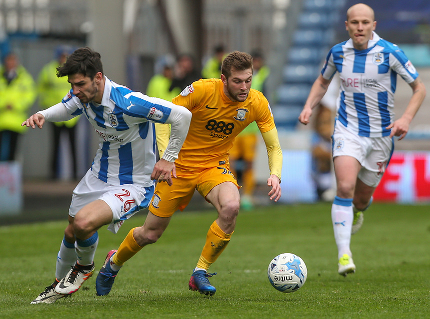 Preston North End's Tom Barkhuizen turns inside Huddersfield Town's Christopher Schindler<br /> <br /> Photographer Alex Dodd/CameraSport<br /> <br /> The EFL Sky Bet Championship - Huddersfield Town v Preston North End - Friday 14th April 2016 - The John Smith's Stadium - Huddersfield<br /> <br /> World Copyright &copy; 2017 CameraSport. All rights reserved. 43 Linden Ave. Countesthorpe. Leicester. England. LE8 5PG - Tel: +44 (0) 116 277 4147 - admin@camerasport.com - www.camerasport.com