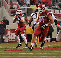 NWA Media/Michael Woods --11/22/2014-- w @NWAMICHAELW...University of Arkansas quarterback Austin Allen drops back to pass during the 2nd quarter of Arkansas 30-0 win over Ole Miss during Saturdays game at Razorback Stadium.