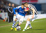 St Mirren v St Johnstone.....02.02.13      Scottish Cup.Gwion Edwards takes on Paul Dummett.Picture by Graeme Hart..Copyright Perthshire Picture Agency.Tel: 01738 623350  Mobile: 07990 594431