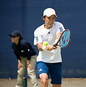 June 13th 2017, Nottingham, England; ATP Aegon Nottingham Open Tennis Tournament day 2;  Backhand from Go Soeda of Japan who lost in two sets to Lloyd Glasspool of Great Britain