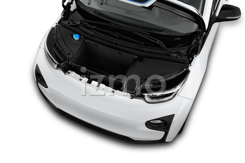 Car Stock 2017 BMW i3 Range-Extender 5 Door Hatchback Engine  high angle detail view