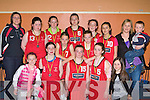The Castleisland team that won silver medals at the County Juvenile Athletic championships in An Riocht, Castleisland on Sunday front row l-r: Laoise Walmsley, Jane Lyne, Aisleen O'Connor, Chloe Joyce, Nicole Downey. Back row: Joanne Walmsley, Catlyn Nolan, Christine Brosnan, Orla White, Aisling O'Connor, Andrea Murphy, Lauren Nolan, Joanne and Cian Downey