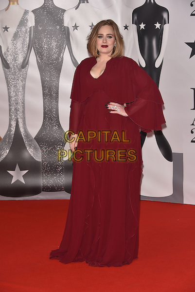 LONDON, ENGLAND - FEBRUARY 24:  Adele (Adele Laurie Blue Adkins) attends the BRIT Awards 2016 at The O2 Arena on February 24, 2016 in London, England<br /> CAP/PL<br /> &copy;Phil Loftus/Capital Pictures