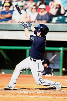 Mobile BayBears Brendon Sanger (2) with a huge swing in the game against the Chattanooga Lookouts on June 3, 2018 at AT&T Field in Chattanooga, Tennessee. (Andy Mitchell/Four Seam Images)