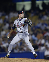 John Smoltz of the Atlanta Braves pitches during a 2002 MLB season game against the Los Angeles Dodgers at Dodger Stadium, in Los Angeles, California. (Larry Goren/Four Seam Images)