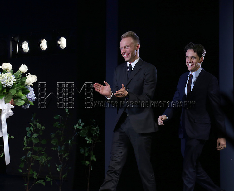 The creative team: Justin Paul, Steven Levenson during the Broadway Opening Night Performance Curtain Call for 'Dear Evan Hansen'  at The Music Box Theatre on December 3, 2016 in New York City.