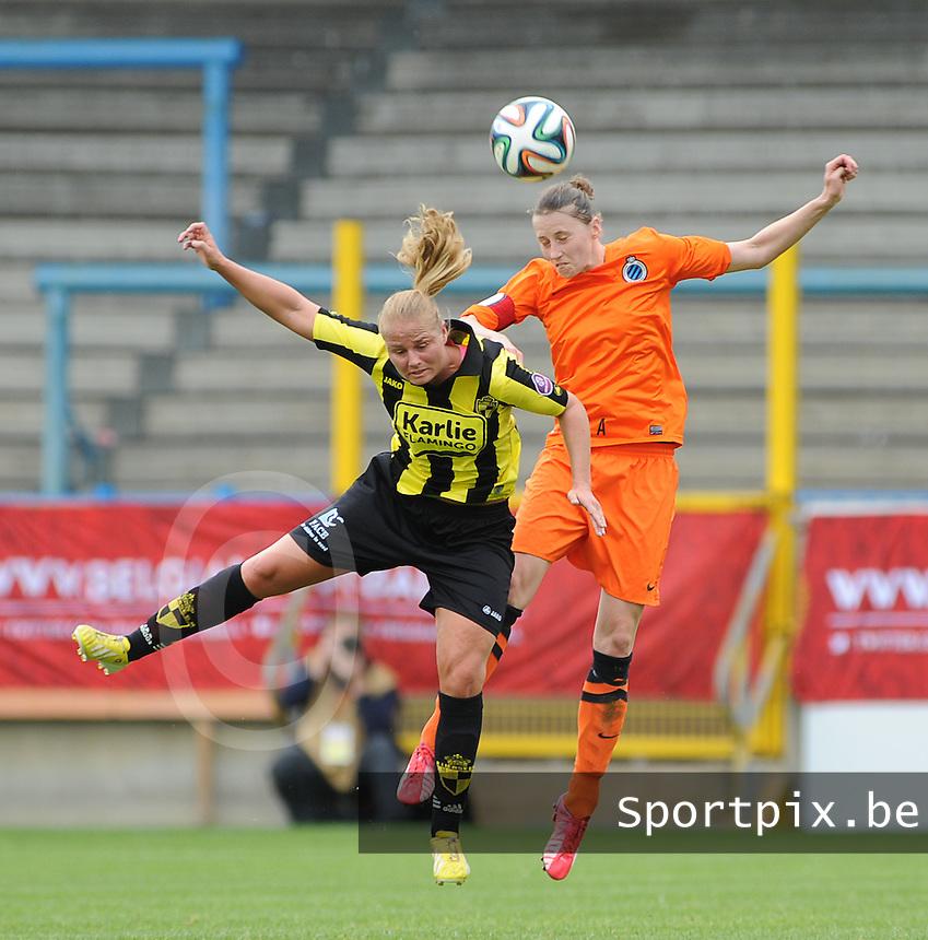 Bekerfinale vrouwen 2015 : Lierse-Club Brugge Vrouwen :<br /> <br /> kopbalduel tussen Dominique Vugts (L) en Heleen Jaques (R)<br /> <br /> foto VDB / BART VANDENBROUCKE