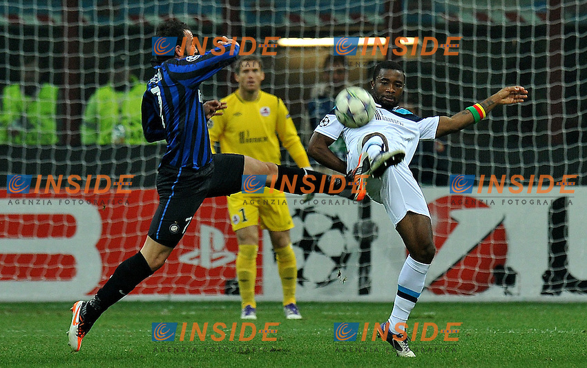 "Giampaolo PAZZINI (Inter), Aurelien CHEDJOU (Lille).Milano 2/11/2011 Stadio ""Giuseppe Meazza"".Champions League 2011/2012.Football Calcio Inter Vs Lille.Foto Insidefoto Alessandro Sabattini."