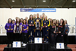 COLUMBUS, OH - MARCH 11:  From left, runner-up Texas Christian University, national champion West Virginia University and third place University of Nebraska stand at the podium during the Division I Rifle Championships held at The French Field House on the Ohio State University campus on March 11, 2017 in Columbus, Ohio. (Photo by Jay LaPrete/NCAA Photos via Getty Images)