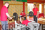 Brendan O'Neill competing in the Kerry Bench Press Championship at the Earl of Desmond hotel on Sunday..