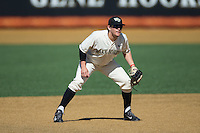 Wake Forest Demon Deacons third baseman Keegan Maronpot (13) on defense against the Richmond Spiders at David F. Couch Ballpark on March 6, 2016 in Winston-Salem, North Carolina.  The Demon Deacons defeated the Spiders 17-4.  (Brian Westerholt/Four Seam Images)