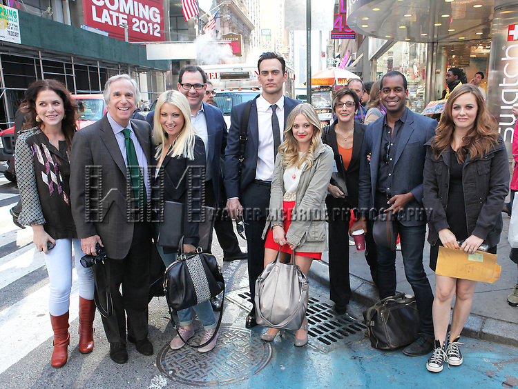 """The cast and creative team of """"The Performers"""", from left, producer Amanda Lipitz, actor Henry Winkler, actress Ari Graynor, producer Scott M. Delman, actor Cheyenne Jackson, actress Jenni Barber, producer Robyn Goodman, actor Daniel Breaker and actress Alicia Silverstone attends press event to introduce the cast and creators of the new Broadway play """"The Performers""""at the Hard Rock Cafe on Tuesday, Sept. 25, 2012 in New York."""