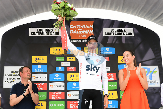 Gianni Moscon (ITA) Team Sky retains the young riders Maillot Blanc at the end of Stage 3 of the 2018 Criterium du Dauphine 2018 a Team Time Trial running 35km from Pont de Vaux to Louhans Chateaurenaud, France. 6th June 2018.<br /> Picture: ASO/Alex Broadway | Cyclefile<br /> <br /> <br /> All photos usage must carry mandatory copyright credit (© Cyclefile | ASO/Alex Broadway)