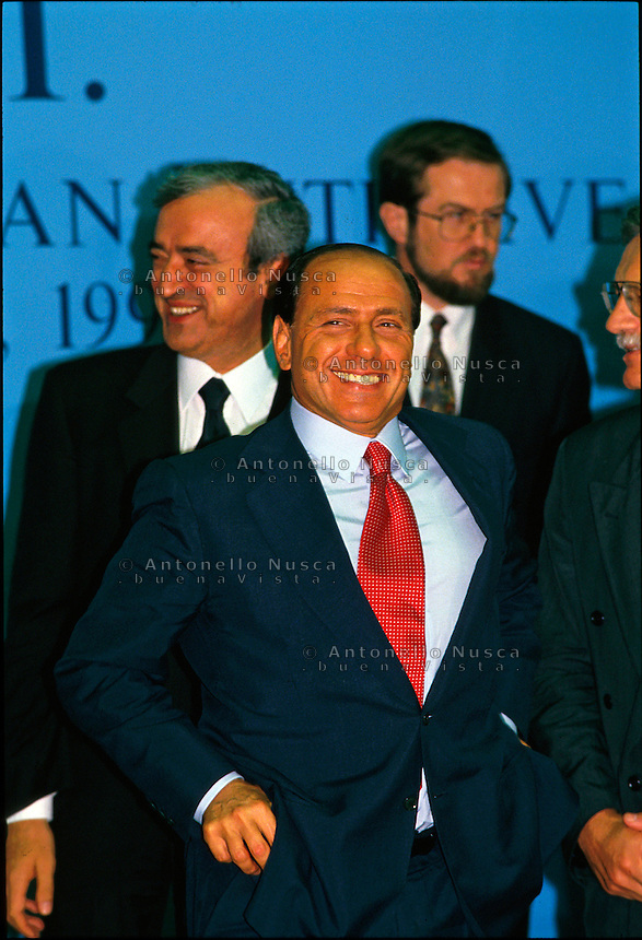 Italian premier Silvio berlusconi during his electoral campaign in Rome May 1994.