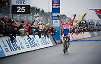 race winner Lars Van der Haar (NLD/Giant-Shimano)<br /> <br /> Zolder CX UCI World Cup 2014