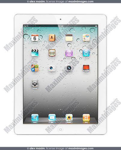 White Apple iPad 2 tablet computer with desktop icons on its display. Isolated with clipping path on white background.