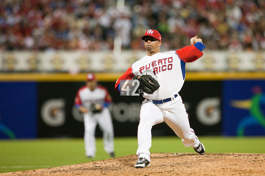 9 March 2009: #16 J.C. Romero of Puerto Rico pitches against the Netherlands during the 2009 World Baseball Classic Pool D game 4 at Hiram Bithorn Stadium in San Juan, Puerto Rico. Puerto Rico wins 3-1 over Netherlands