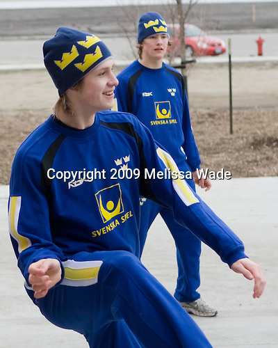 Jonathan Johansson (Sweden - 21) (Bertilsson) - Members of Team Sweden warmed up outside the Urban Plains Center in Fargo, North Dakota, on Saturday, April 18, 2009 prior to their final match against the Czech Republic during the 2009 World Under 18 Championship.