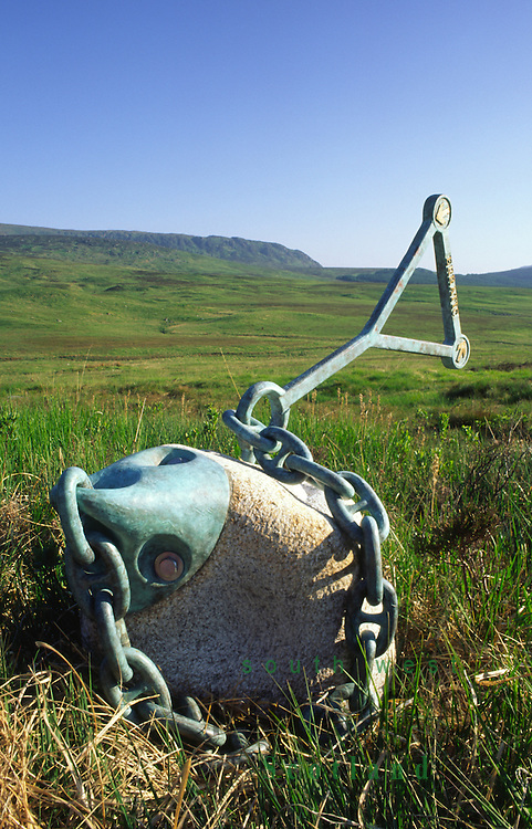 Art artist Matt Baker granite sculpture Erratic in a remote landscape on Cairnsmore of Fleet National Nature Reserve run by Scottish Natural Heritage Galloway, Scotland, UK