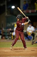 Macon Bacon Noah Mendlinger (23) bats during a Coastal Plain League game against the Savannah Bananas on July 15, 2020 at Grayson Stadium in Savannah, Georgia.  (Mike Janes/Four Seam Images)