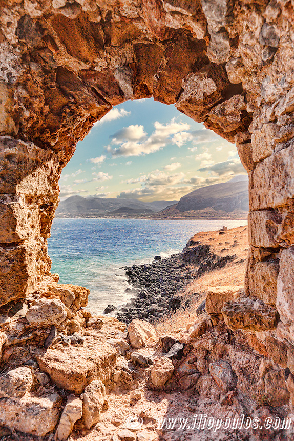 The view from the Byzantine castle-town of Monemvasia in Greece