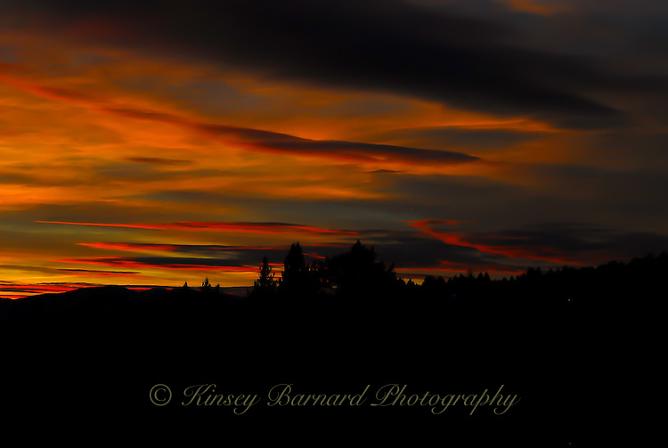 Dark, brooding sunset over the Kootani National Forest in Northwest Montana