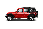 Car Driver side profile view of a 2015 JEEP Wrangler Unlimited Sport 5 Door Sport Utility Vehicle Side View
