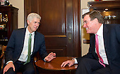 Judge Neil Gorsuch, United States President Donald J. Trump's nominee to be Associate Justice of the US Supreme Court to replace Justice Antonin Scalia, left, makes a courtesy call on US Senator Mark Warner (Democrat of Virginia), right, in the Senator's Capitol Hill office in Washington, DC on Tuesday, February 14, 2017.<br /> Credit: Ron Sachs / CNP