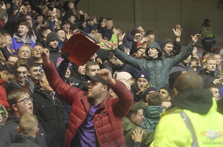 Preston North End's fans celebrate<br /> <br /> Photographer Mick Walker/CameraSport<br /> <br /> The EFL Sky Bet Championship - Nottingham Forest v Preston North End - Saturday 8th December 2018 - The City Ground - Nottingham<br /> <br /> World Copyright © 2018 CameraSport. All rights reserved. 43 Linden Ave. Countesthorpe. Leicester. England. LE8 5PG - Tel: +44 (0) 116 277 4147 - admin@camerasport.com - www.camerasport.com