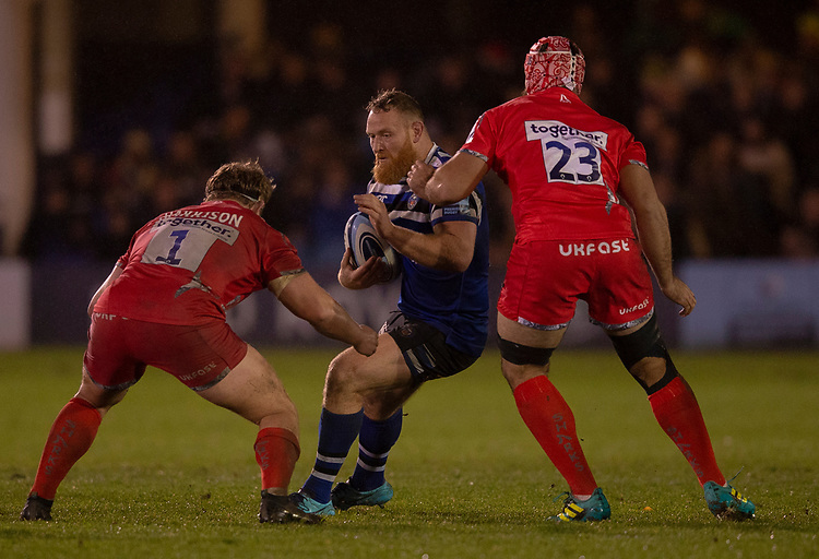 \Bath Rugby's Ross Batty in action during todays match<br /> <br /> Photographer Bob Bradford/CameraSport<br /> <br /> Gallagher Premiership Round 9 - Bath Rugby v Sale Sharks - Sunday 2nd December 2018 - The Recreation Ground - Bath<br /> <br /> World Copyright &copy; 2018 CameraSport. All rights reserved. 43 Linden Ave. Countesthorpe. Leicester. England. LE8 5PG - Tel: +44 (0) 116 277 4147 - admin@camerasport.com - www.camerasport.com