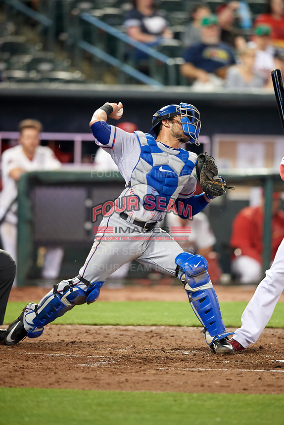 Round Rock Express catcher A.J. Jimenez (6) throws down to second base during a game against the Memphis Redbirds on April 28, 2017 at AutoZone Park in Memphis, Tennessee.  Memphis defeated Round Rock 9-1.  (Mike Janes/Four Seam Images)