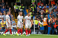 GOAL - George Baldock of Sheffield United celebrates Lys Mousset's goal during the Premier League match between Chelsea and Sheff United at Stamford Bridge, London, England on 31 August 2019. Photo by Carlton Myrie / PRiME Media Images.
