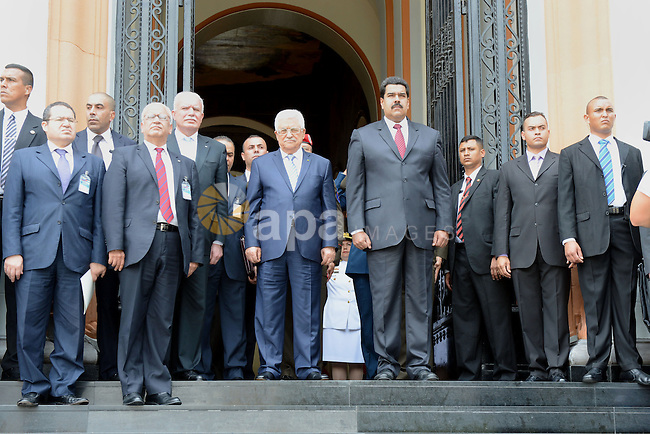 Palestinian President, Mahmoud Abbas meets with Venezuelan President Nicolas Maduro in Miraflores Palace in Caracas, Venezuela, on May 16, 2014. Mahmoud Abbas is making an official visit to Venezuela from May 15 to 17. Photo by Thaer Ganaim