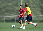 Landon Donovan (in red) is defended by Michael Bradley (r) on Sunday, May 14th, 2006 at SAS Soccer Park in Cary, North Carolina. The United States Men's National Soccer Team held a training session as part of their preparations for the upcoming 2006 FIFA World Cup Finals being held in Germany.