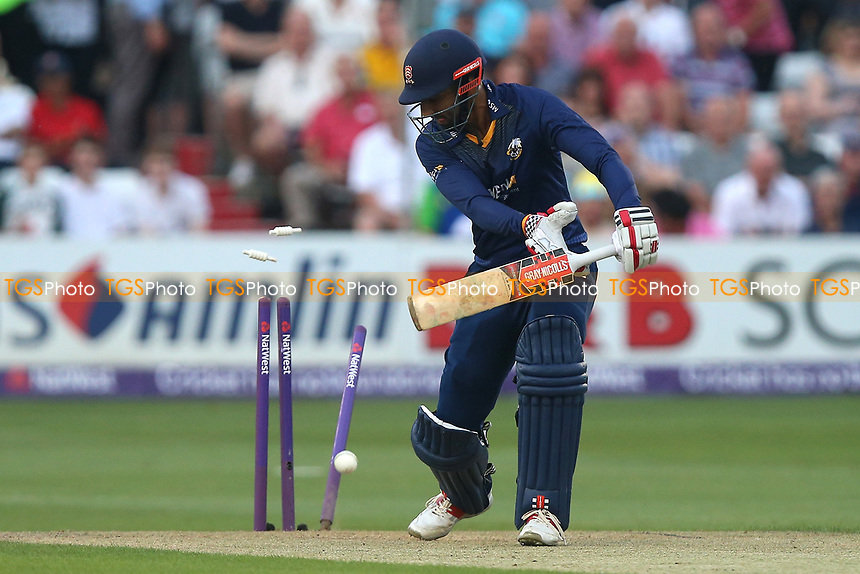 Varun Chopra of Essex is bowled out by Tom Curran during Essex Eagles vs Surrey, NatWest T20 Blast Cricket at The Cloudfm County Ground on 7th July 2017