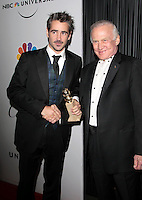 Irish actor Colin Farrell arrives after winning a Golden Globe and meets astronaut Buzz Aldrin at the NBC/Universal Pictures/Focus Features Golden Globes after party at the Beverly Hilton Hotel, Beverly Hills, California, USA, on January 11, 2009.  The Golden Globes honour excellence in film and television.