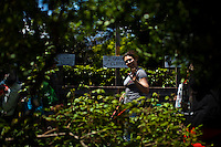 People enjoy a day of work in a community garden organized to produce organic food at Brooklyn in New York,  May 10, 2013, Photo by Eduardo Munoz Alvarez / VIEWpress.