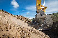 Drainage maintemence, excavating a drainage dyke with a  JCB JS220 - October, South Lincolnshire
