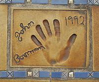 Hand print of the film director, John Boorman, outside the Palais des Festivals et des Congres, Cannes, France.