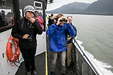 ALASKA, Juneau, passangers keep their eyes peeled for Humpback Whales while whale watching and exploring in Stephens Passage