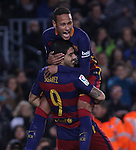 17.01.2016 Camp Nou, Barcelona, Spain. La Liga day 20 march between FC Barcelona and Athletic Club. Neymar and Luis Suarez celebrates his second gioal