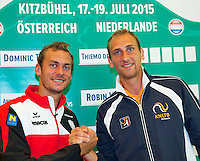 Austria, Kitzbuhel, Juli 16, 2015, Tennis, Davis Cup, Draw, First match on sunday Andreas Haider-Mourer (AUT) vs Thiemo de Bakker (NED) (R)<br /> Photo: Tennisimages/Henk Koster