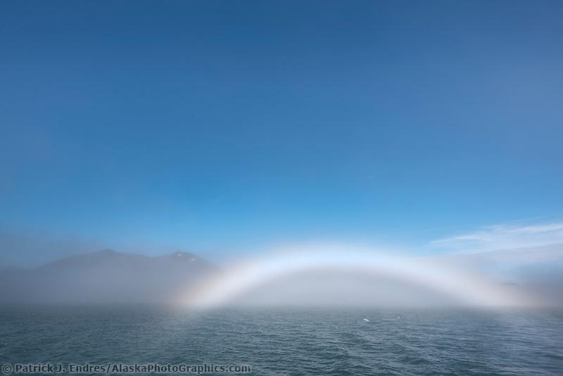 Fog bow in Port Nellie Juan, Prince William Sound, Alaska.